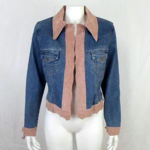 J Marco Denim Stretch & Suede Leather Jacket sz S